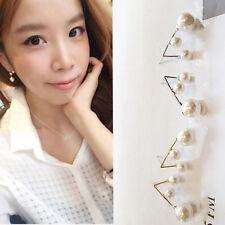 Elegance Celebrity Three Pearl Beads Plug Ear Stud Pin Earrings Popular Jewelry
