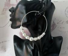 Beautiful 8cm large silver tone faux pearl bead & diamante big hoop earrings