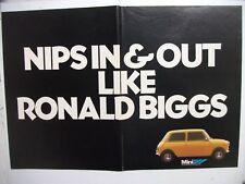 1979 MINI NIPS IN & OUT LIKE RONALD BIGGS BRITISH MAGAZINE 2 PAGE ADVERTISEMENT