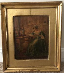 Vintage Gold Gilt REOFECT Painting COLONIAL PORTRAIT Antique