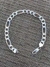 """Men's Thick 7.5mm Figaro Bracelet Solid 925 Sterling Silver 8"""" 13.5g Italy Made"""