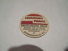 HARMONY FARMS BERNARDSVILLE NEW JERSEY  MILK BOTTLE CAP