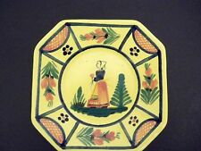 QUIMPER SOLEIL YELLOW OCTAGONAL PLATE  6 1/4 inches OCTAGONAL LADY