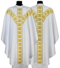 White Gothic Chasuble with stole GY555-B25 Vestment Casulla Blanca Weiss Kasel