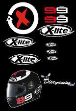 Pegatina de vinilo vinyl moto bike sticker casco helmet 99 xlite Lorenzo negro