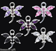 10Pcs Mixed Rhinestone Dragonfly Charm Pendants 20x19mm