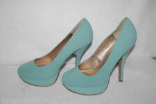"Womens Shoes SAGE GREEN PLATFORM PUMPS 5.5"" High Heels QUPID Mock Suede SIZE 7"