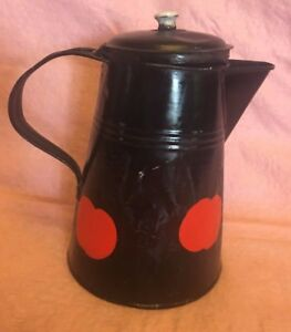 Tin Black Teapot Pitcher Watering Can Red Apples Vintage 7 in high 7.5 in long