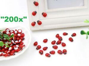 200x Wooden Red Ladybird Ladybug Sticker Adhesive Garden Party Decorating Craft