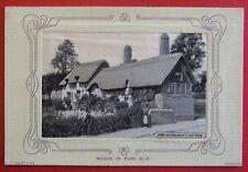 W.H.GRANT WOVEN SILK Postcard c.1905 ANN HATHAWAYS COTTAGE WARWICKSHIRE