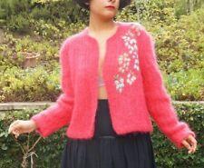 Vintage 1970s Hand Knit Fuchsia Pink Mohair Open Cardigan Crochet Design OS