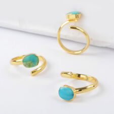 5Pcs Freeform Natural Genuine Turquoise Open Wrap Ring Gold Plated HOT BG1490-1