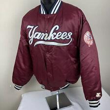 Vintage Starter Satin Jacket New York Yankees Maroon XL 90s MLB Team Coat
