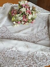 Vintage Embroidered White Tablecloth With Lace, Approx 127cm x 126cm