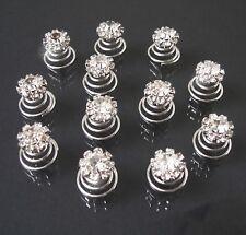 Haarschmuck Curlies 12 Stück Strass Blume 11mm Kommunion Hochzeit Braut H601