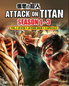 ANIME DVD ATTACK ON TITAN SEASON 1-3 + 6 SPECIAL+LOST GIRL + JUIOR HIGH ENG DUB