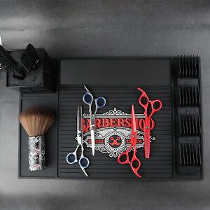 Barber Clipper Station Mat Barbershop Non-Slip Mat Work Station Pads Black