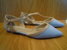 Carvela Ladies Shoes Size 4 T Bar Flats Nude Blue Kurt Geiger Pointed Toe Shoe