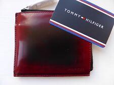 Tommy Hilfiger Con Cremallera quemado Borgoña Cuero Billetera Tarjetas de Notas Monedas Nuevo Caja