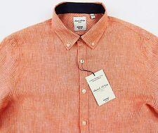 Men's MURANO Orange White Striped Slim Fit Linen Shirt Medium M NWT NEW Nice!