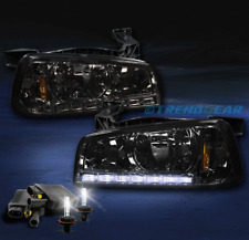 2006-2010 DODGE CHARGER DRL LED CRYSTAL SMOKE HEAD LIGHT LAMP+CORNER W/HID 8000K