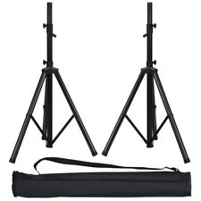 "Pair 38""-74"" Height Adjustable Tripod DJ PA Speaker Stands Black w/Carry Bag New"