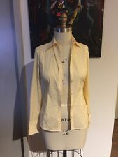 Martin Osa Striped Yellow White Long Sleeve Button Down Fitted Shirt Blouse Sz 2