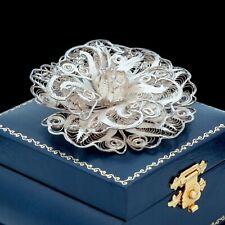Antique Vintage Nouveau Sterling Silver Filigree Flower Floral HUGE Pin Brooch