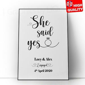 Personalised She Said Yes Engagement Custom Poster | A5 A4 A3 A2 A1 |