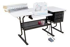 Sewing Table Machine Storage Craft Cabinet Desk Shelves Bins Baskets Sew White