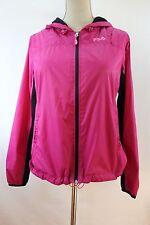 Women's FILA Sport Windbreaker Jacket M Hot Pink Nylon Running Track Top W1