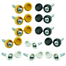 Car Number Plate Fixing Kit Screws & Caps - 12 Black, White & Yellow - 24pc pack