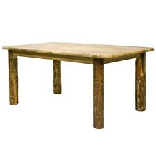 Rustic Log Dining Room Tables 6 ft Kitchen Table Amish Made Lodge Cabin Style