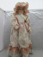 """Girl with Blond Curls Porcelain Doll- Pink Floral Dress 15"""" Tall Stand included"""