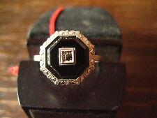 hauchzarter Art Deco Ring 8eck eingeschliffener Onyx 835er Silber RG 58 18,5 mm