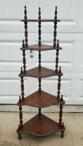 VTG Wood 5 Tier Corner Stand/ Shelf Knick Knack Curio Figurine Plants Spindles