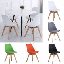 Set of 4 Tulip Dining Chairs Lounge Seat Padded Chair with PU Cushion Wooden Leg