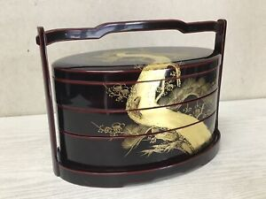 Y2506 BOX Lacquered three-tiered handle Japanese antique Japan vintage