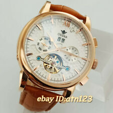 White Dial 44.5mm Mens Watch Stainless Automatic Ossna Steel Case  Movement 2873