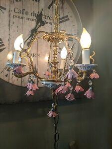 VTG Brass Porcelain Pink Roses Hollywood RegenChandelier Hanging Swag Light lamp