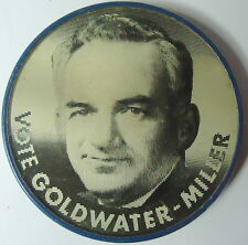VOTE GOLDWATER ~ MILLER B&W Photo Flasher Campaign Pin 1964