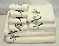 Sophia Eight Piece Bathroom Towel Set Ivory with Brown Birds Across End New