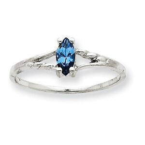 10k White Gold Polished Geniune Blue Topaz Birthstone Ring 10XBR201 Size 6