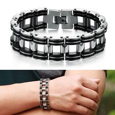 Style Silver Stainless Steel Black Rubber Motorcycle Men Chain Bracelet Bike