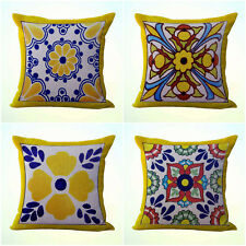 Us Seller- 4pcs cushion covers Mexican Spanish talavera inexpensive decorative