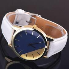 Ladies Gold Quartz Two Tone Faced White Leather Band Wrist Watch.(Aussie Seller)