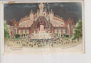 Old Postcard Paris Hold to Light Expo 1900 Kahn / Electricity Palace