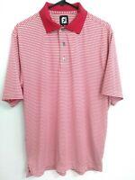 FootJoy FJ Mens Medium Red White Striped Short Sleeve Active Golf Polo Shirt