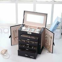 Leather Jewelry Watch Box Organizer Mirror Ring Necklace Bracelet Storage Case