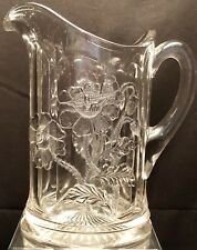 Eapg Floral Embossed Table Size Water Pitcher Northwood Glass Oriental Poppy Mcm